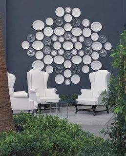 Outdoor wall decor- old plates