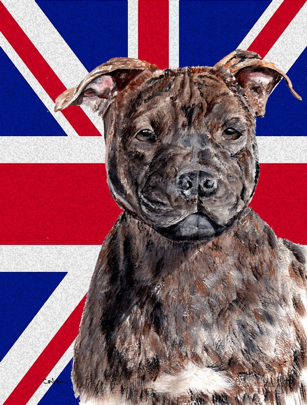 Caroline S Treasures Staffordshire Bull Terrier Staffie With English Union Jack British Flag House Vertical Fl Staffordshire Bull Terrier Bull Terrier Staffies
