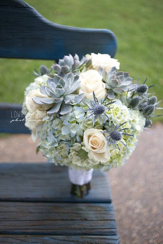 Bouquet Hydrangeas White Roses Thistle Succulent Vintage Rustic Wedding Flower Bouquet Wedding Succulent Hydrangea Bouquet Wedding Flowers