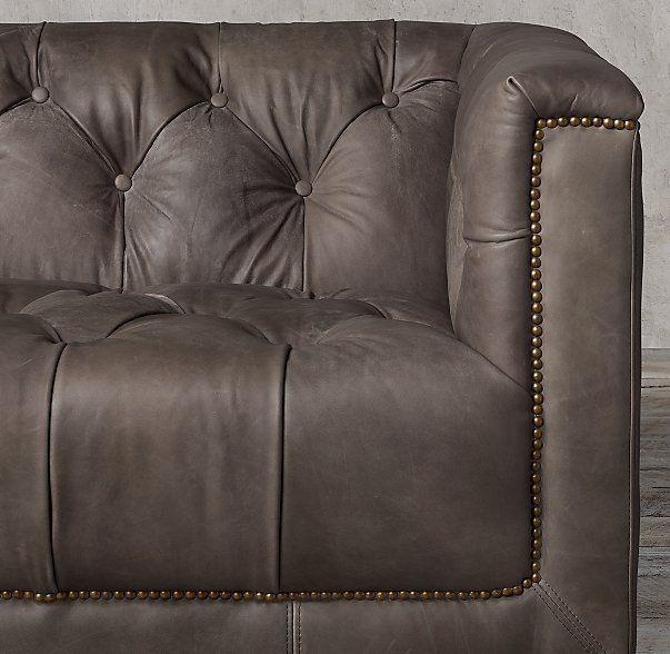 savoy leather sofa restoration hardware modern design seattle family room
