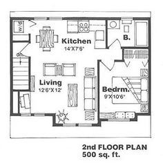 500 sq ft house plans google search home garage in - 500 square feet apartment floor plan ...