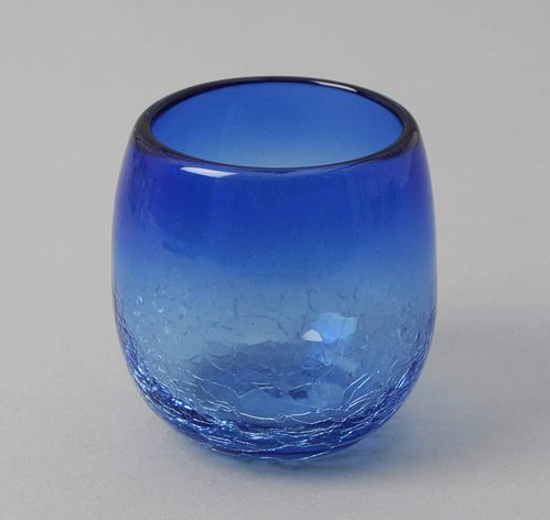 Barrel Shaped Tumbler Blue Recycled Glass Hickoree S Glass