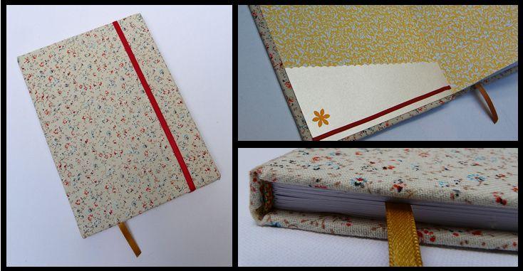 Cuaderno A5. Detalle de la tela, cinta señaladora, elástico, solapa con aplique y cinta. info@eltallerdeg.com.ar