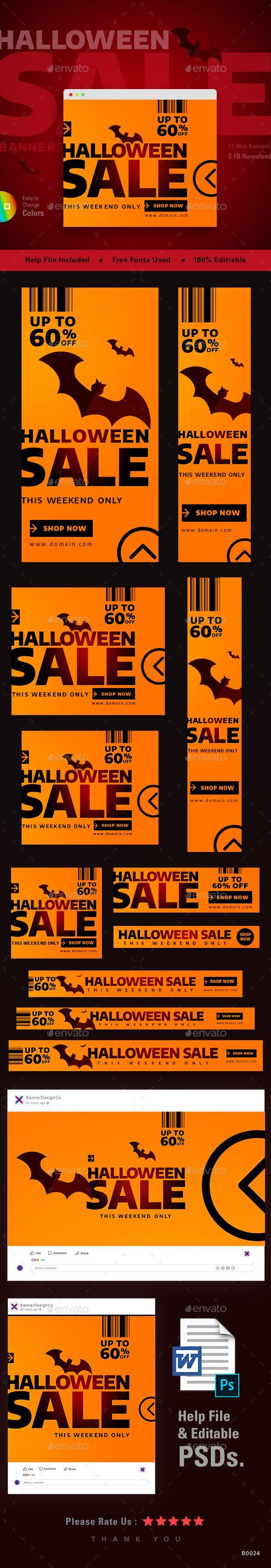 Halloween Web Banner Set Template Psd Web Banners Template Psd