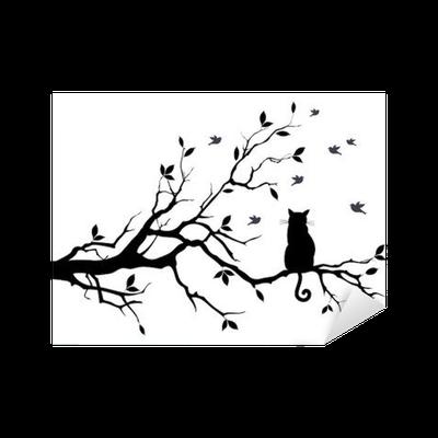 Vinilo Pixerstick Gato En Un Arbol Con Los Pajaros Vector Pixers Vivimos Para Cambiar Disenos Del Tatuaje Del Arbol Arte De Arboles Produccion Artistica