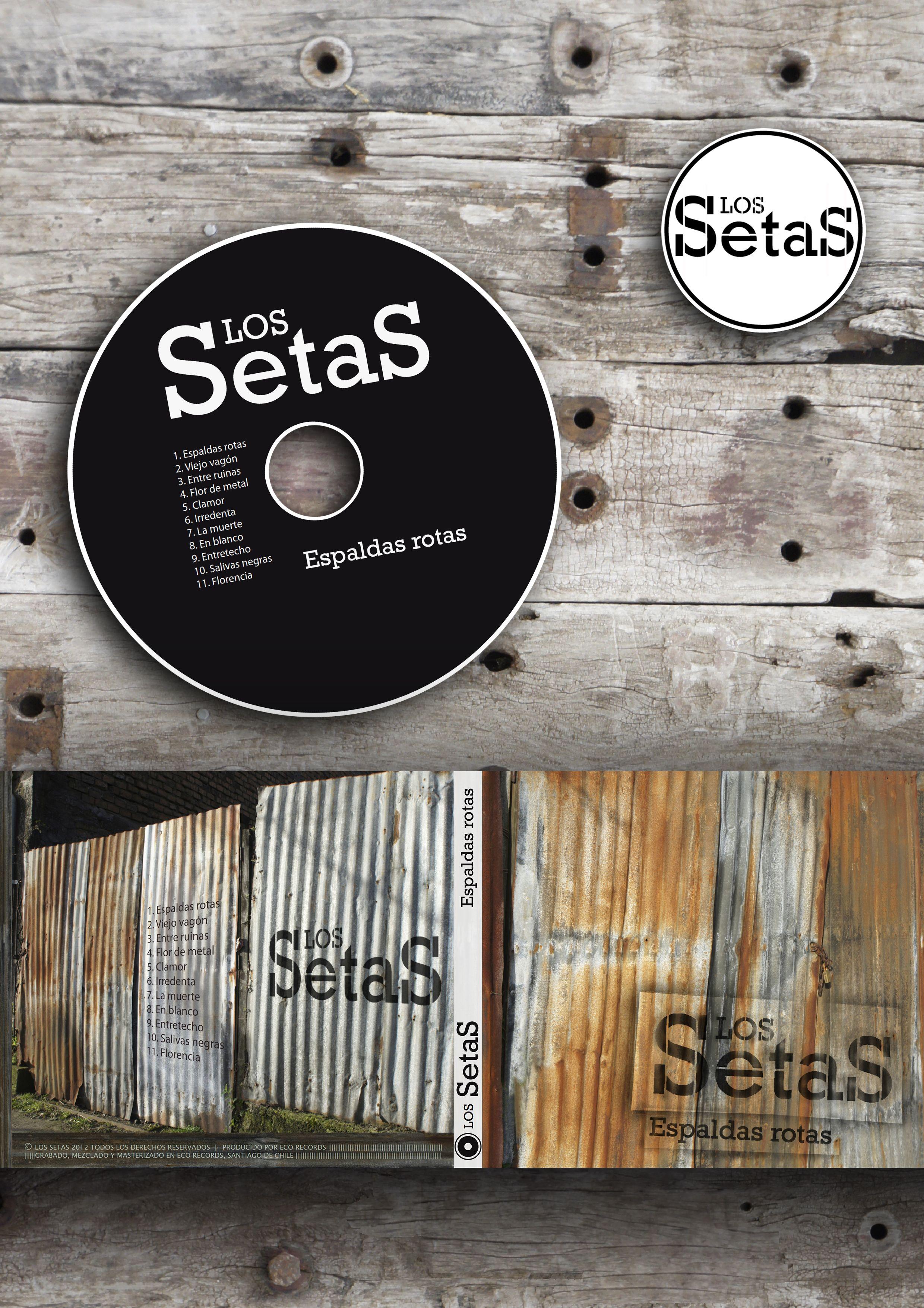 """Diseño del arte del disco """"Espaldas Rotas"""" y logo para banda Los Setas (Concepción / Santiago - Chile)"""