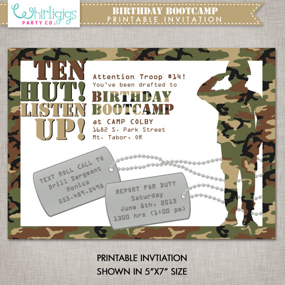 Army Bootcamp Birthday Invitation Printable