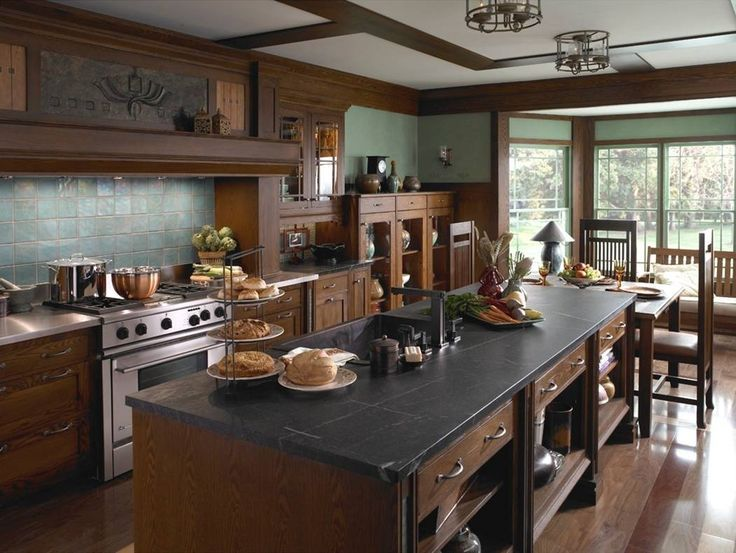 Divine Craftsman Style Kitchen Interior Combined With Black Quartz Kitchen  Island Plus Stainless Steel Stove: Create Natural Sense With Craf.