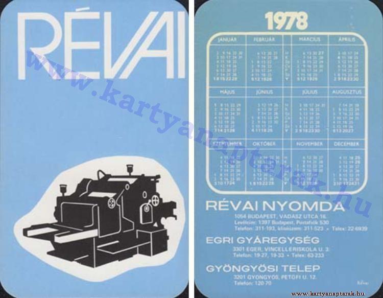 1978 - 1978_0841 - Régi magyar kártyanaptárak