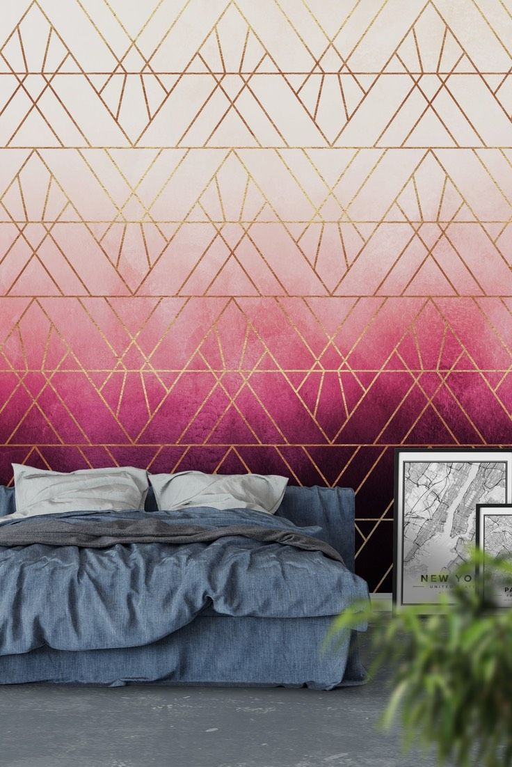 Pink Ombre Triangles Wall Mural Wallpaper Abstract
