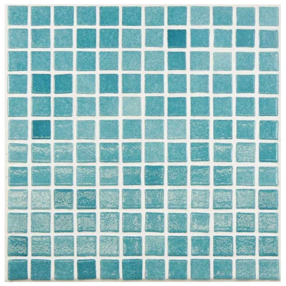 Merola Tile Ruidera Square Niebla Azul 13 in. x 13 in. x 5 mm Glass ...