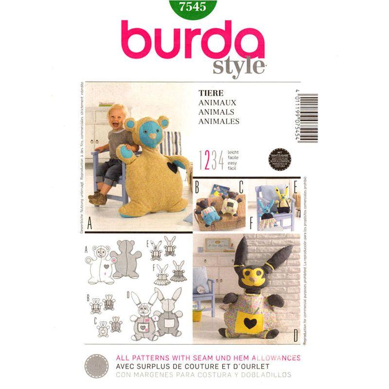 Bear and Bunny Rabbit Toy Pattern Burda 7545 Plush Stuffed Animal 10 ...