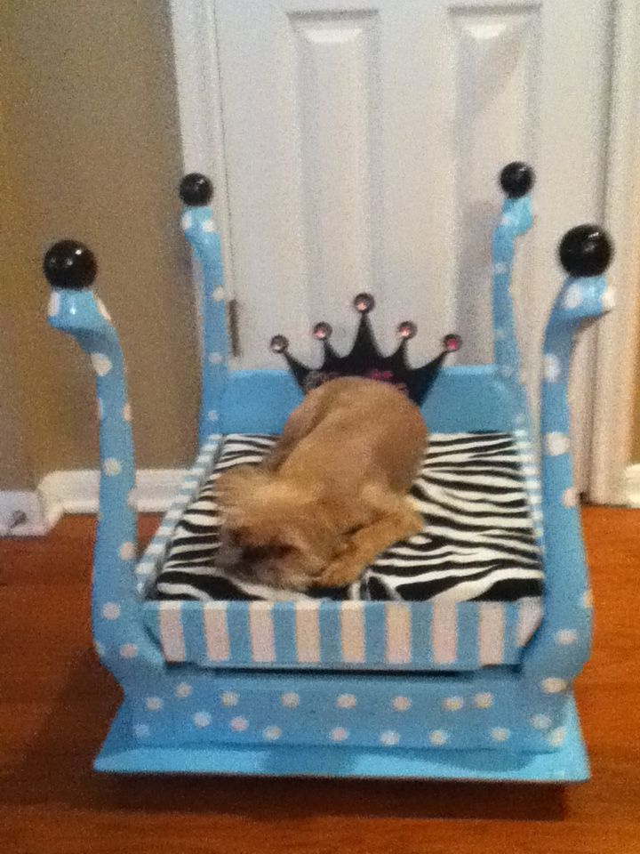 Dog bed made from an old end table. Diy dog bed