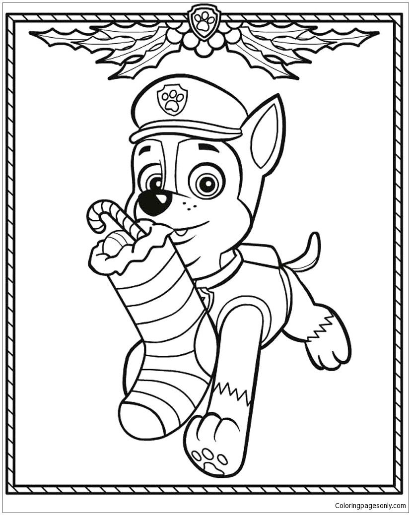 Paw Patrol Christmas Coloring Pages Full Screen Download