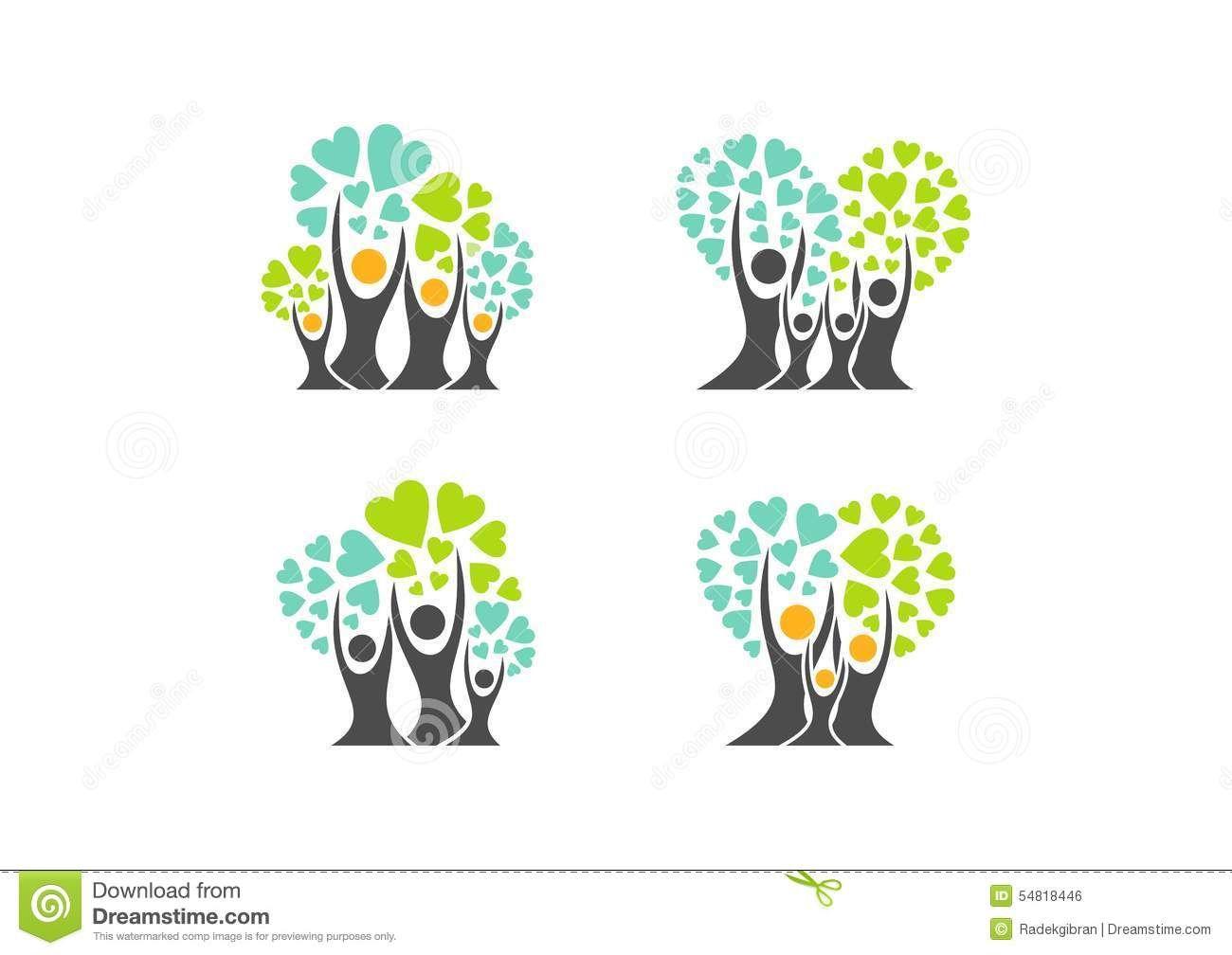 Family tree logofamily heart tree symbolsparentkid