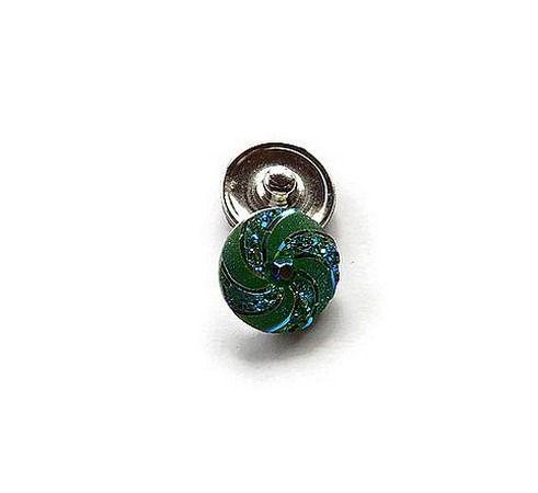 bouton snap chunk rosace irisée vert cabochon 18 mm pour bijoux personnalisables B142 : Autres accessoires bijoux par mamiechantal-screations