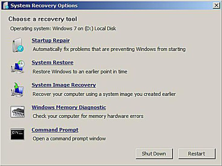 System Recovery Options With Images System Restore Windows