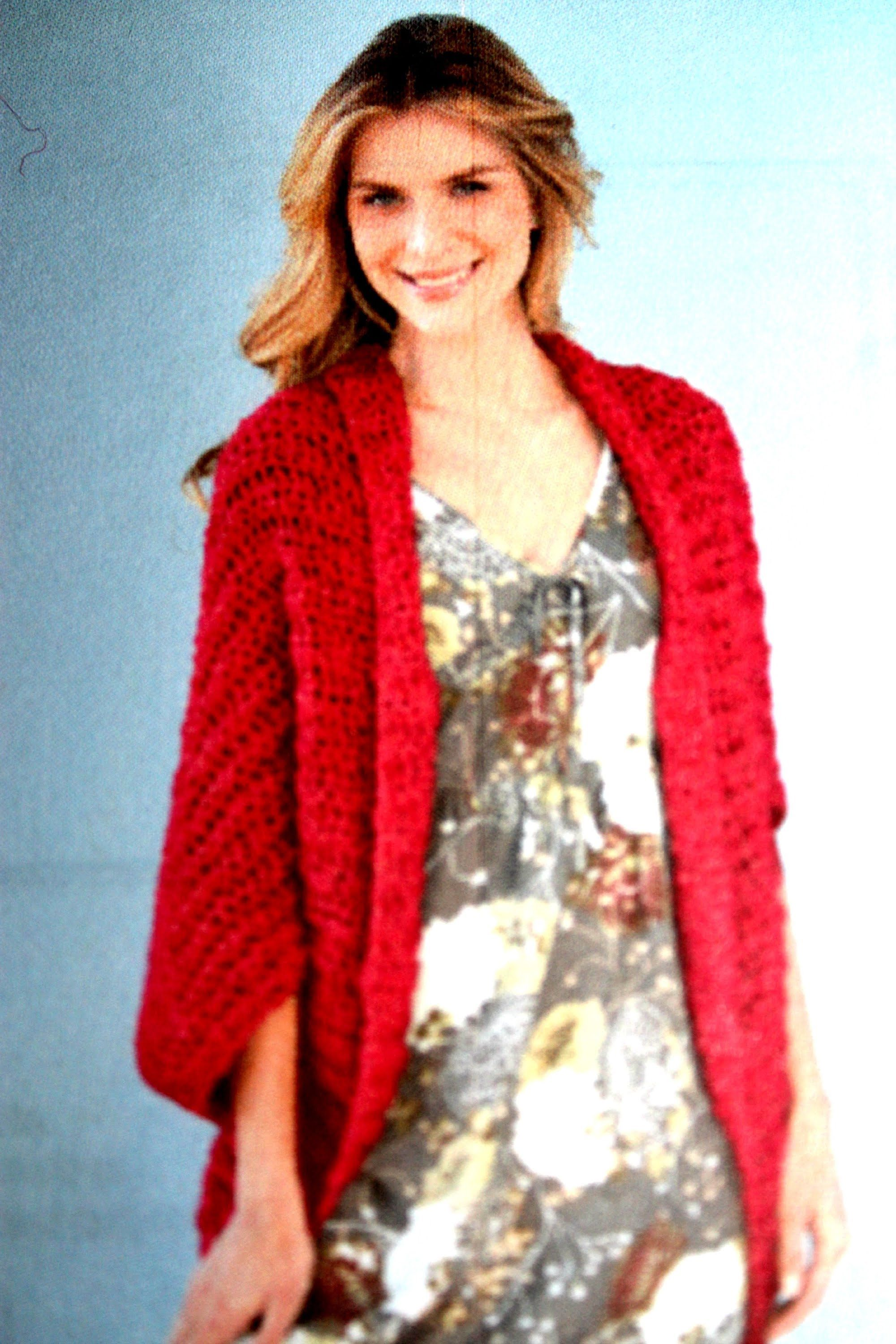 Yolanda Soto Lopez #crochet Shrug  Lion Brand Free Pattern Download  (english)