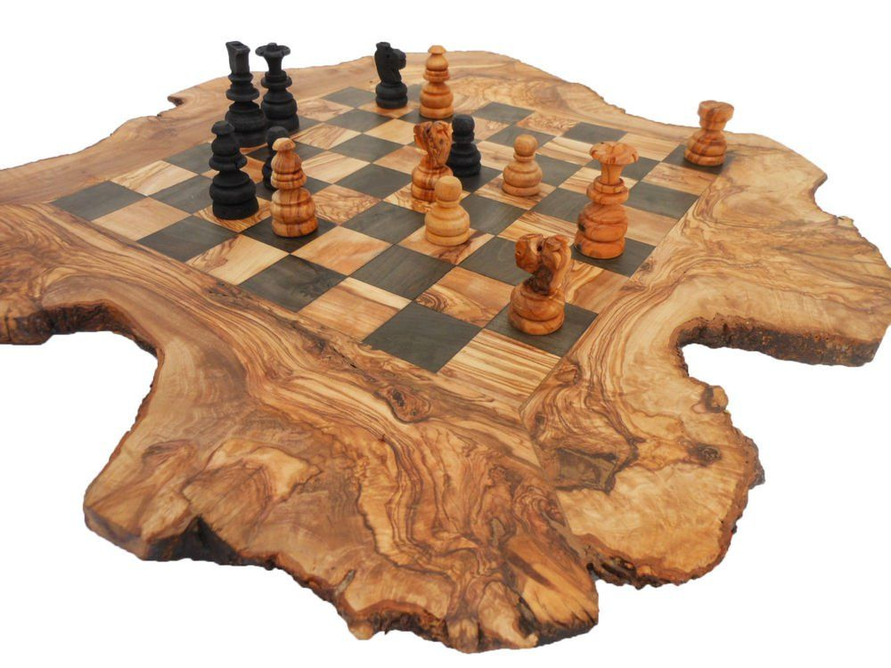 Handmade Rustic Olive Wood Large Chess Set Board Dad Gift Christmas Gift Wood Chess Wood Chess Set Wood Chess Board