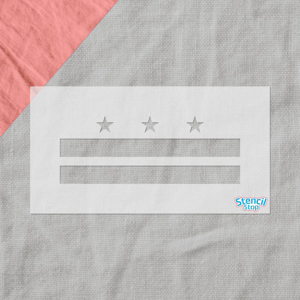 Washington D C Flag Stencil Reusable City Flag Stencil Etsy Custom Stencils Stencils City Flags