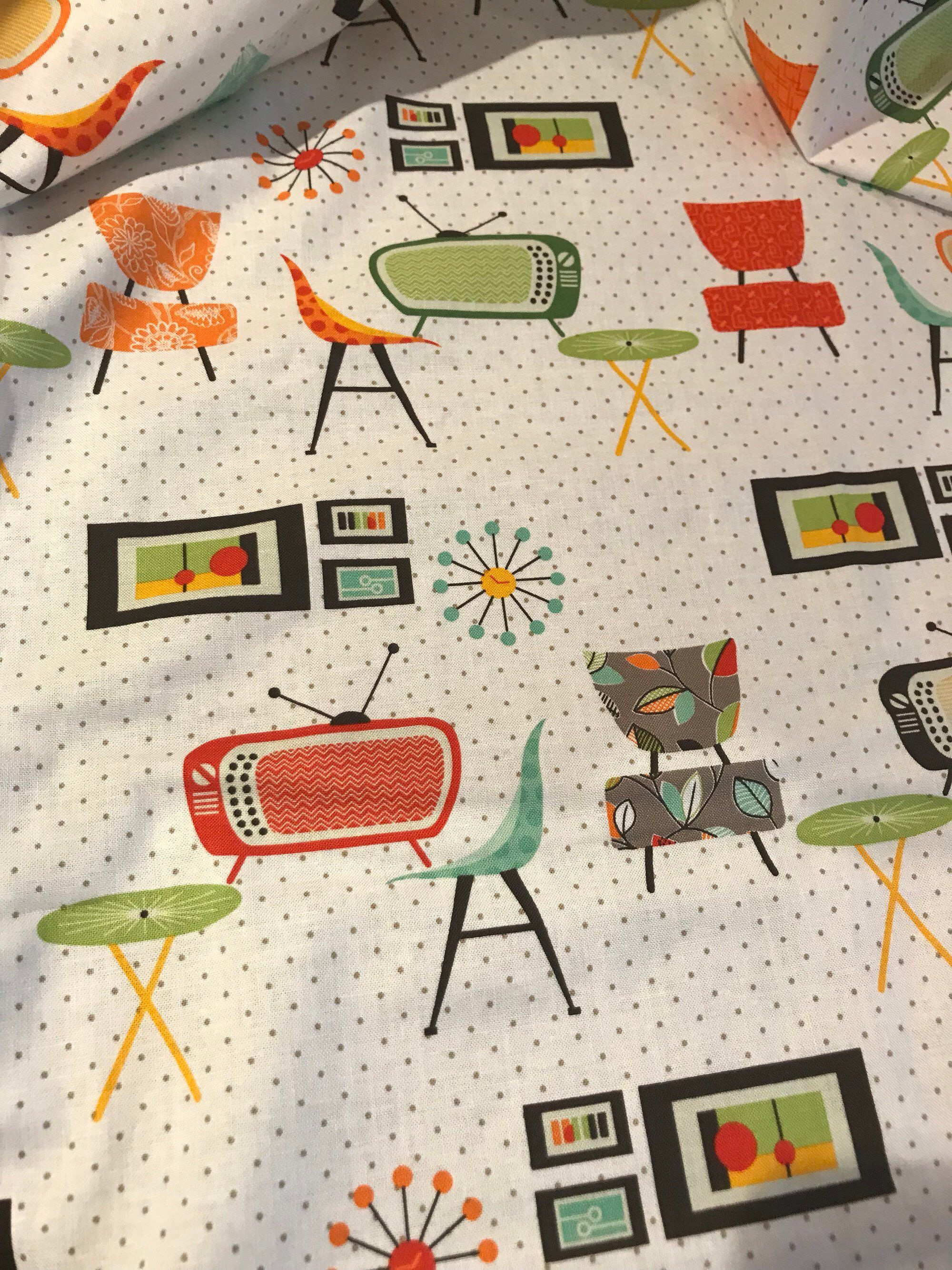 Mid Century Modern Atomic Retro 50s Style Curtains For Kitchen Etsy Retro Home Retro Home Decor Mid Century Decor