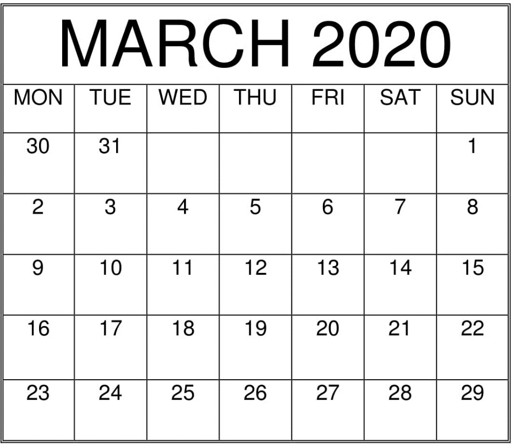 Images For March 2020 Calendar Printable 12 Month Printable Calendar Calendar Printables Calendar Template Calendar March