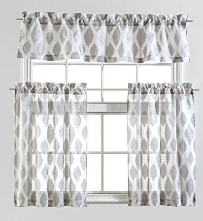 Mysky Home Fashion 3 Pieces Jacquard Kitchen Sheer Tier Curtains