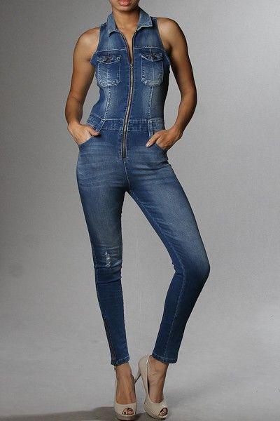 20fc9c306246 Front Zipper Side Pocket Sleeveless Denim Catsuit Blue Jean Jumpsuit