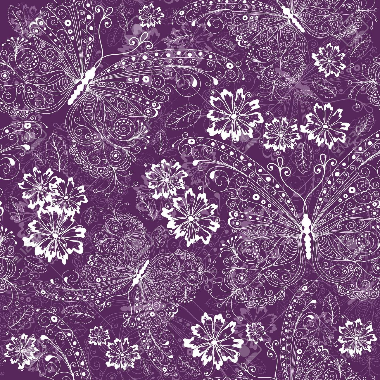 purple flower pattern wallpaper 4DE