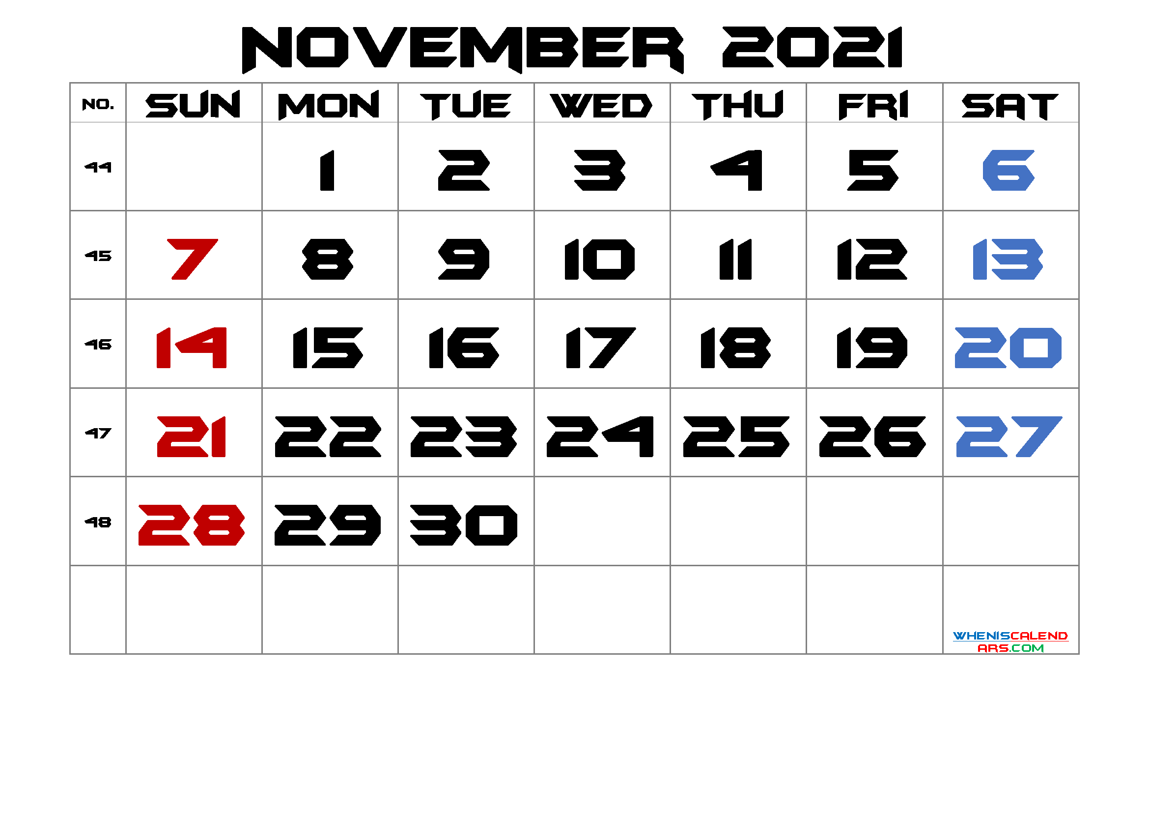 November 2021 Printable Calendar With Week Numbers Free Premium In 2020 Calendar Printables Printable Calendar July 2021 Calendar
