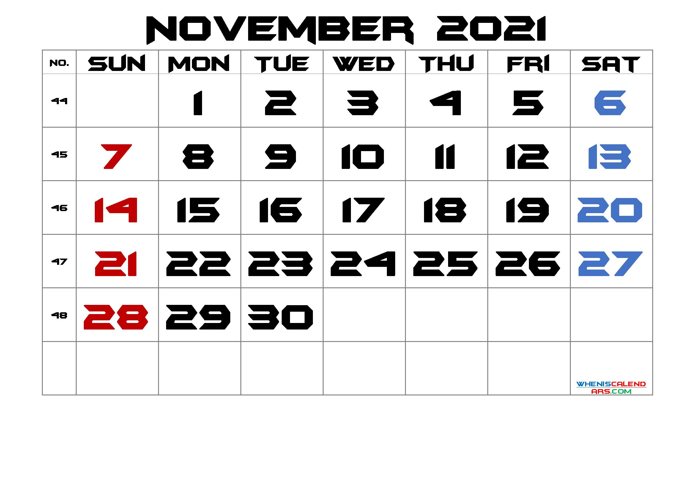 November 2021 Printable Calendar With Week Numbers Free Premium In 2020 Calendar Printables Printable Calendar July 2021 Calendar