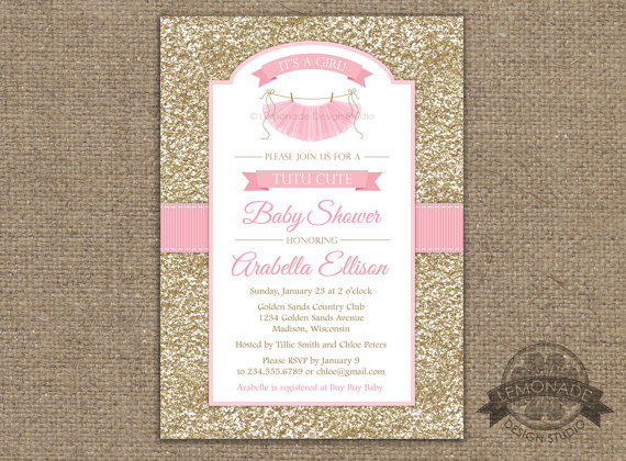 Gold And Pink Baby Shower Invitation Tutu Cute Glitter Effect Any Colors Party Or Birthday Printable Ballerina