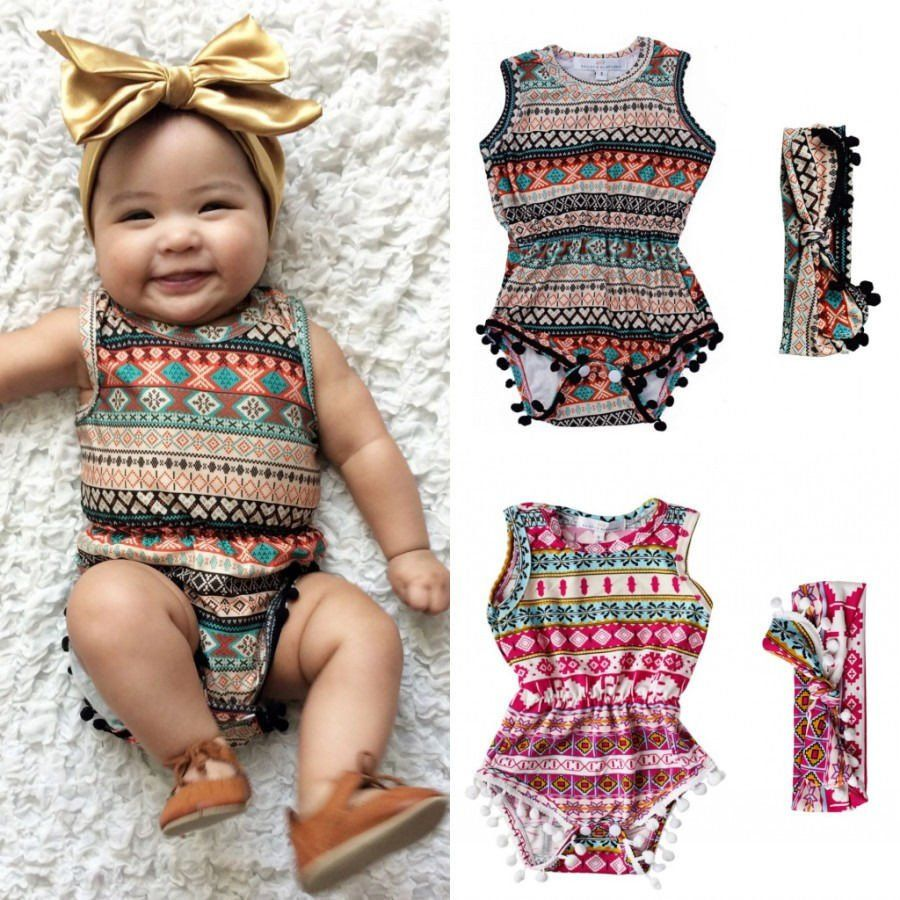 b1ace31ce7c1 Adorable Baby Girl s Sleeveless Tassel Romper Headband Sunsuit ...