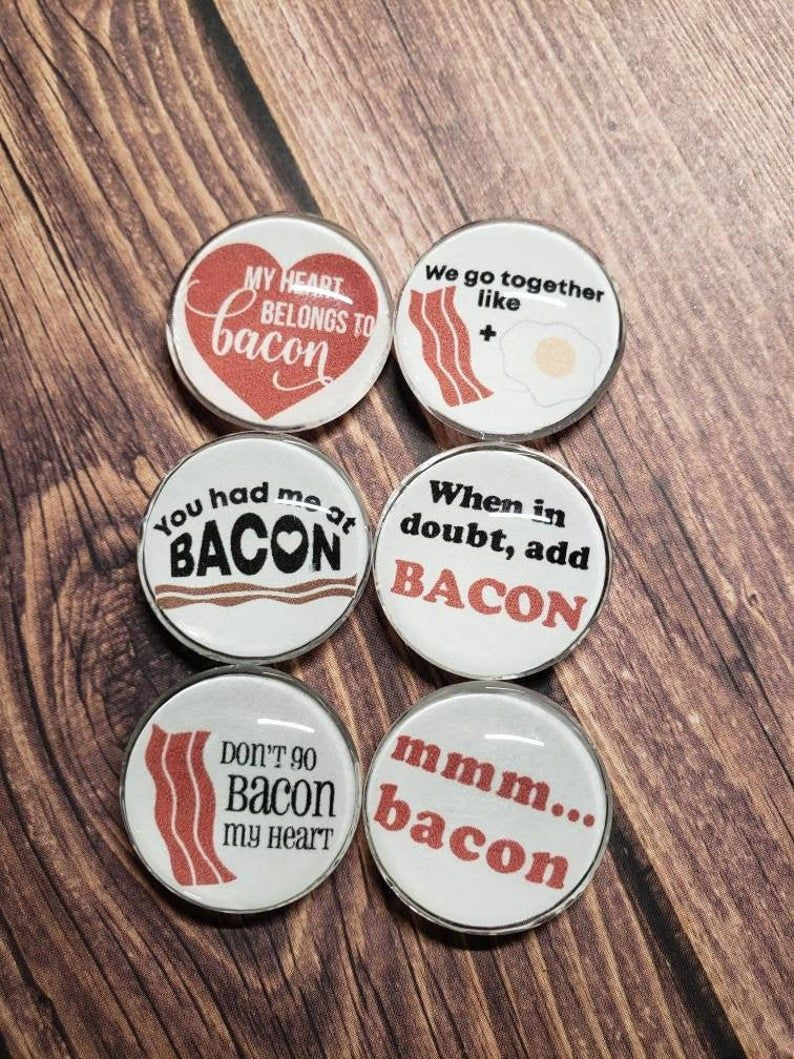 Glass Magnet Set Bacon Magnets Strong Glass Magnets Small Round Magnet Kitchen Magnet Office Magnet Fridge Magnet Bacon Lover Christmas Gift In 2020 Glass Magnets Christmas Stocking Stuffers Back To School Gifts