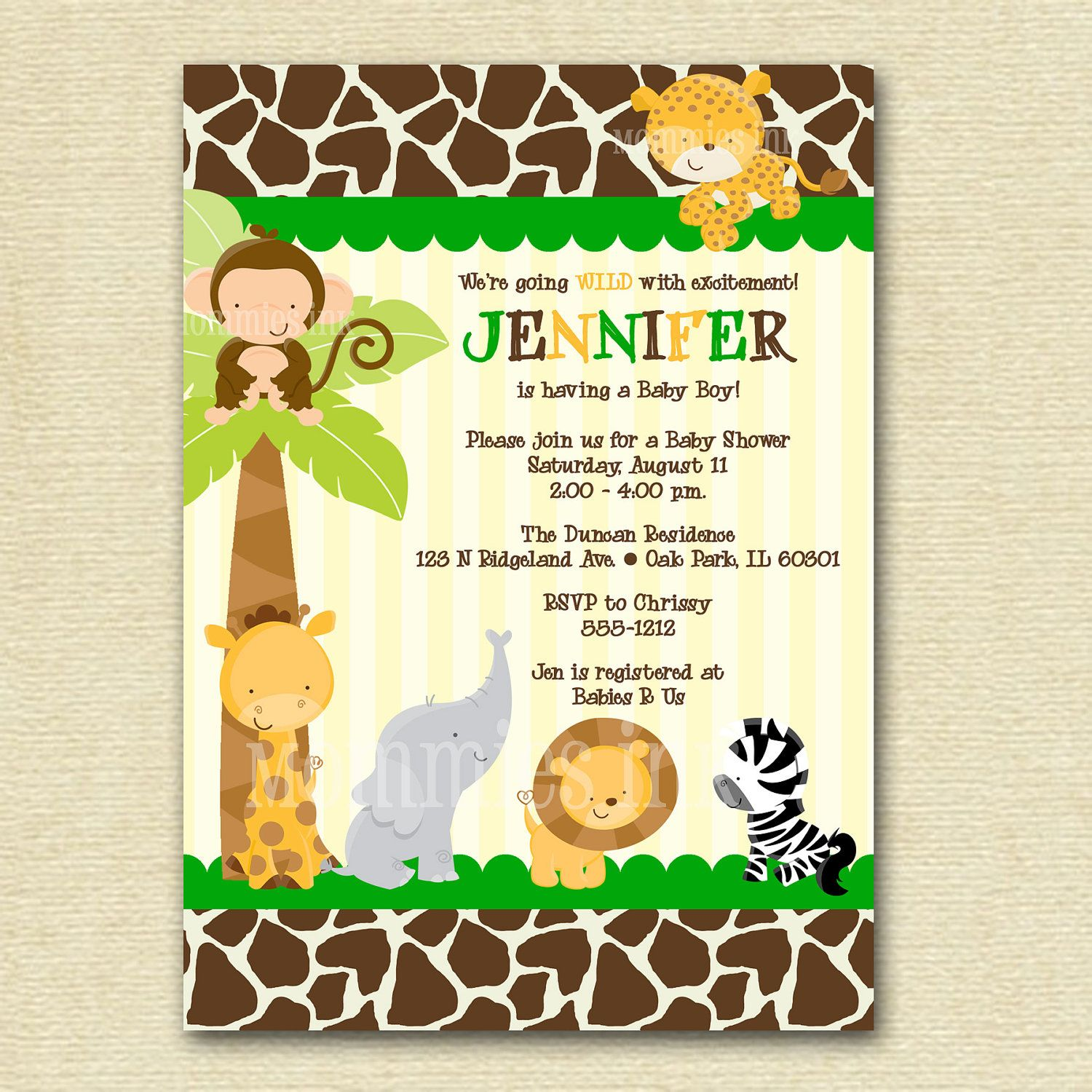 Safari Baby Shower Invitation, Baby Shower Invitation, Giraffe Print ...