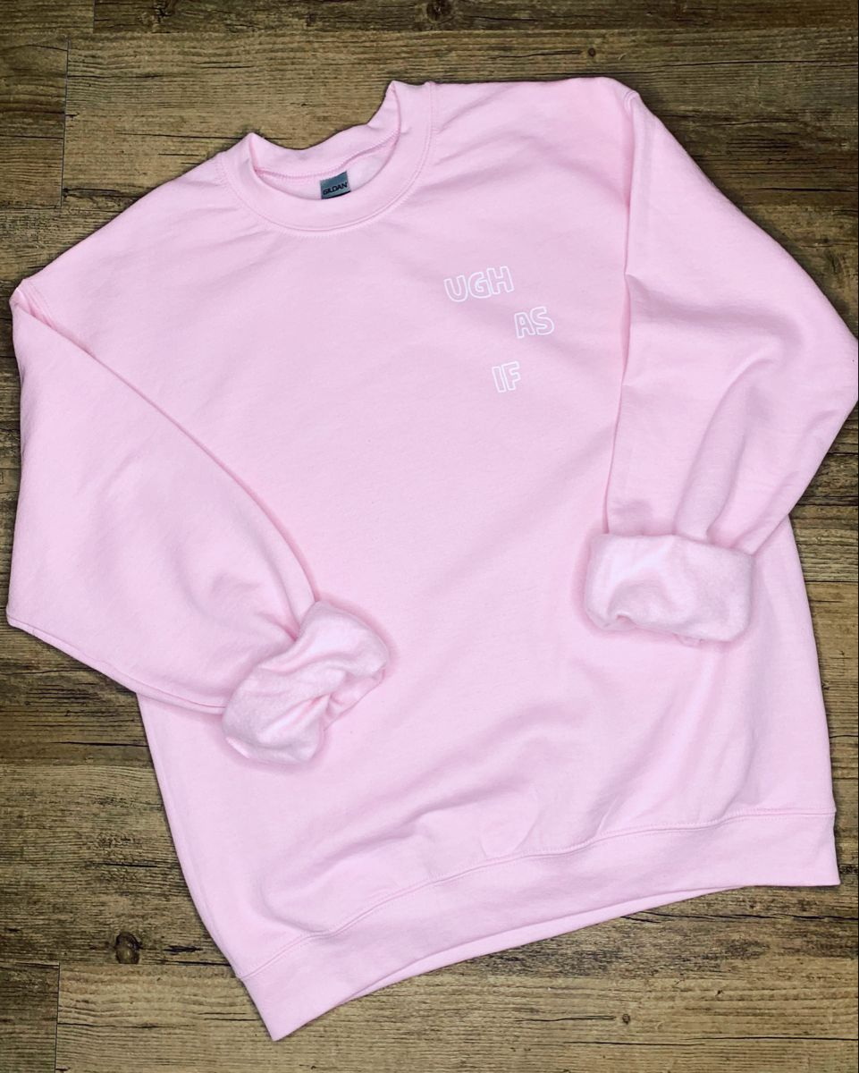 Light Pink Crewneck Sweatshirt With White Font On Left Etsy Pink Crewneck Sweatshirt Crew Neck Sweatshirt Sweatshirts [ 1200 x 961 Pixel ]