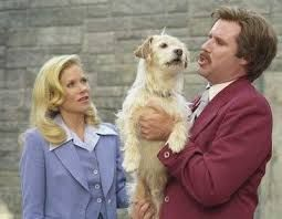 Vernica Corningstone And Ron Burgundy With Baxter In Anchorman