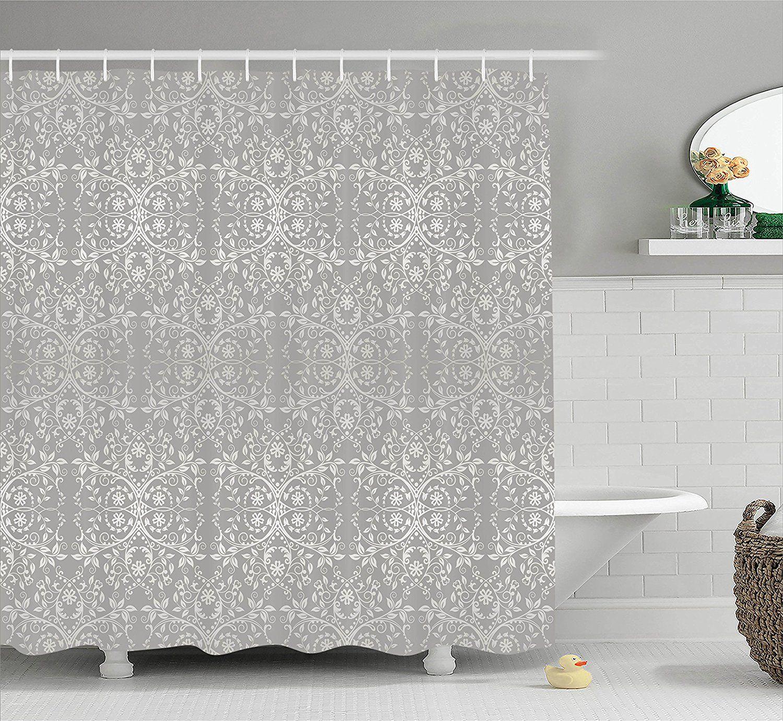 Amazon Com серый декор душ занавес Ambesonne викторианской кружева цветы и листья на фоне р Geometric Shower Curtain Bathroom Decor Sets Shower Curtain Sizes