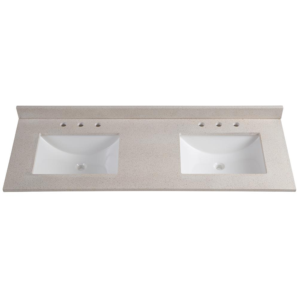 Glacier Bay 61 In. W X 22 In. D Colorpoint Double Vanity Top In Maui With  White Basins