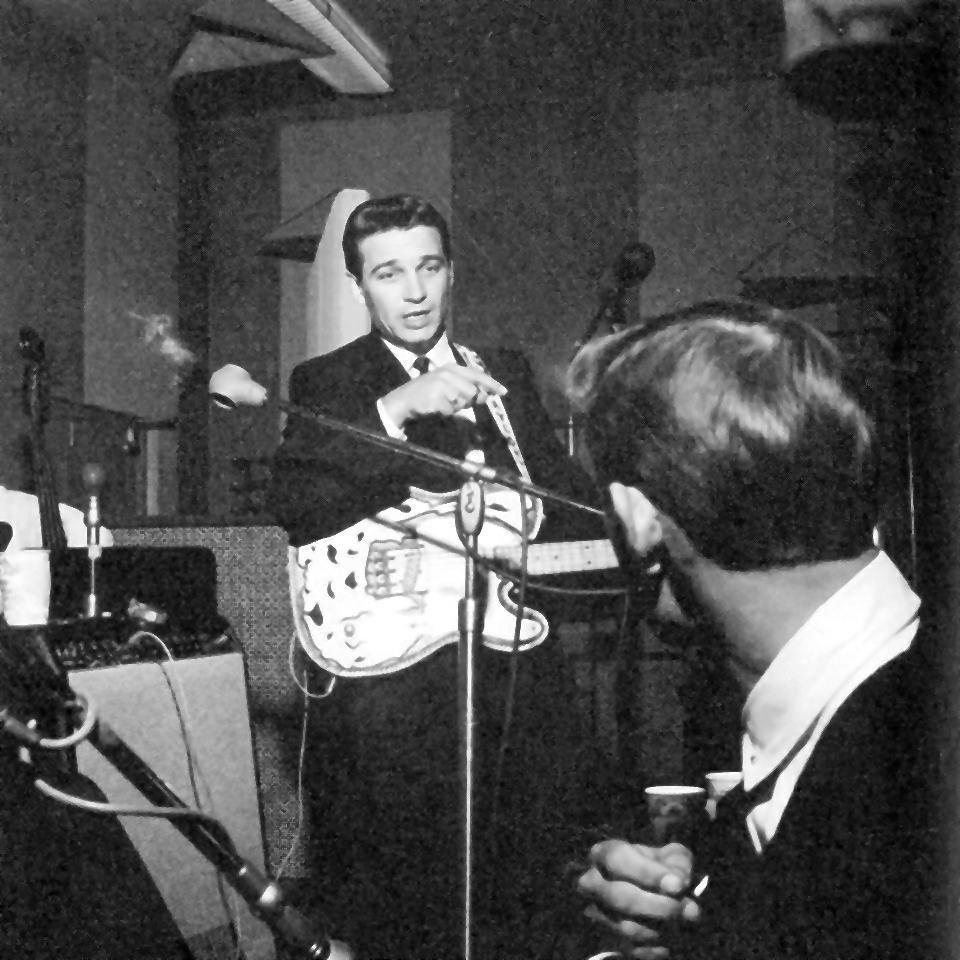 Waylon Jennings in Studio B with Jerry Reed, mid-1960s.