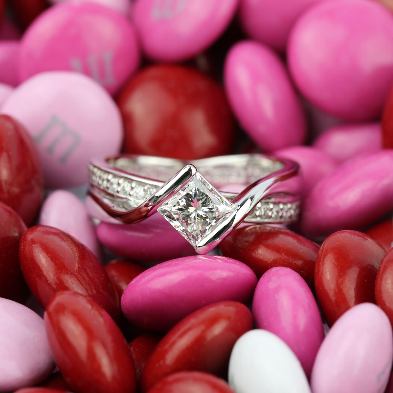 Princess Bezel Diamond Bridge Engagement Ring in White Gold | White ...