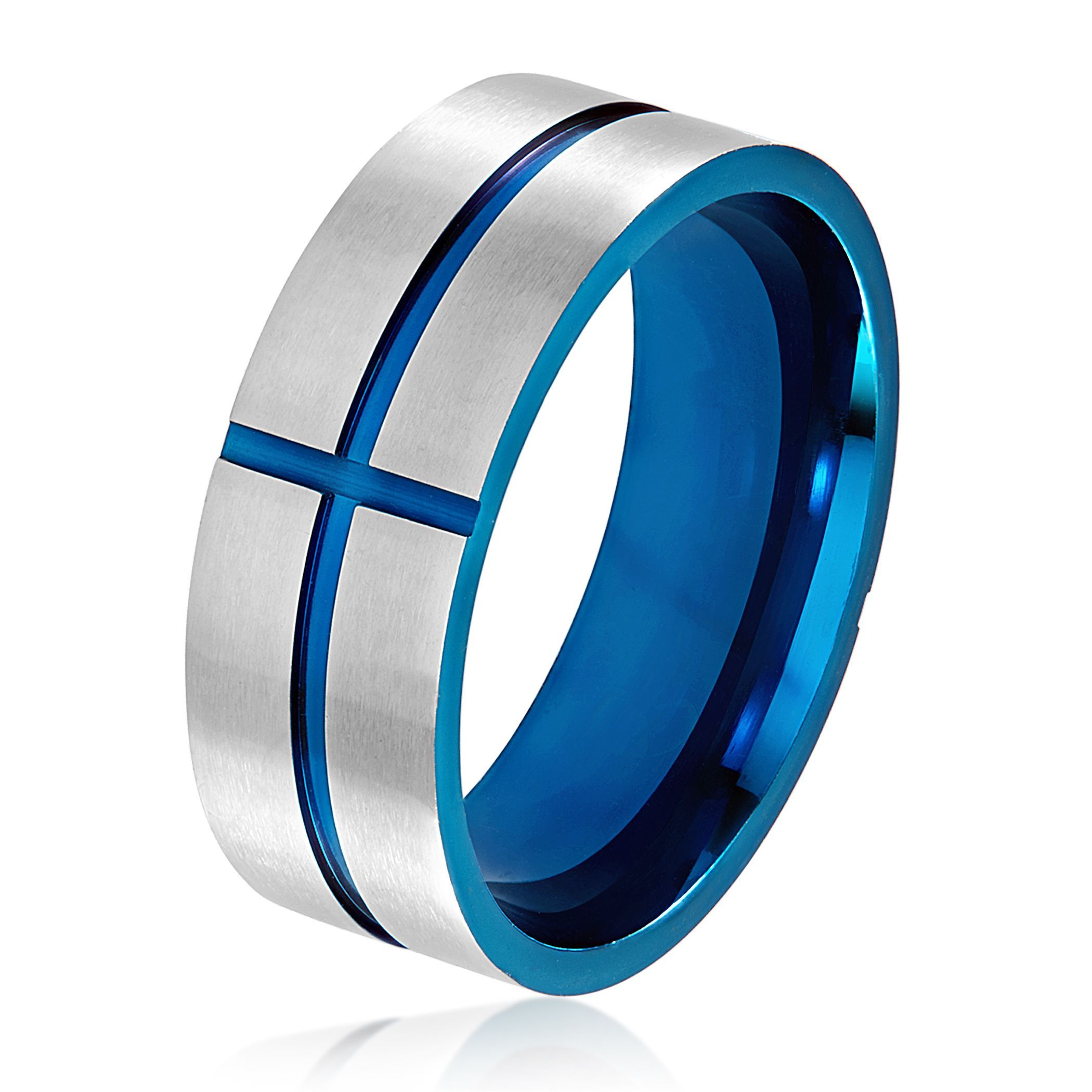 Men's Blue Plated Brushed Stainless Steel Grooved Cross