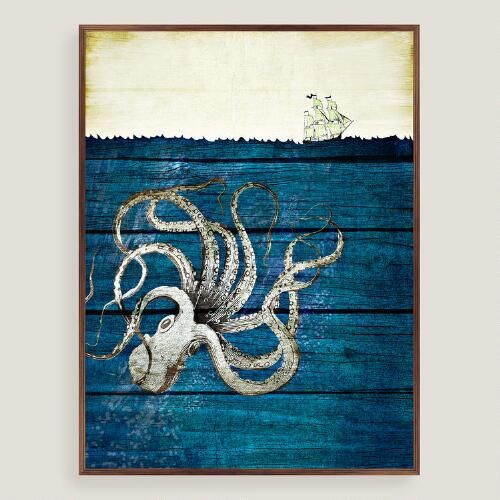 Rustic octopus wall art blue by world market