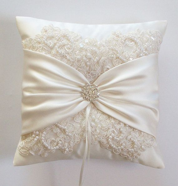 Wedding Ring Pillow With Beaded Alencon Lace Ivory Satin Sash