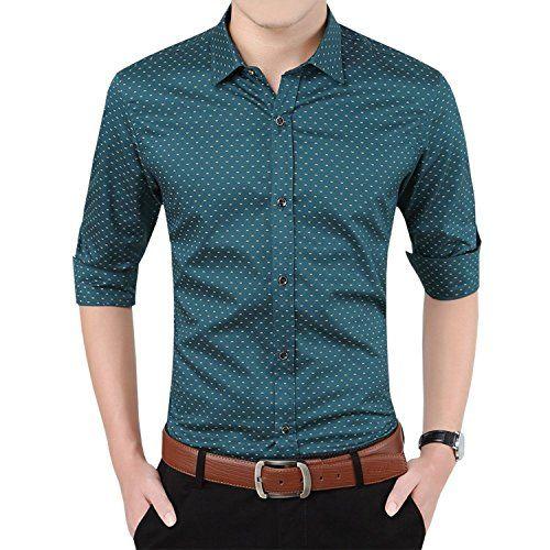 d3136fd12a4d YTD Mens 100% Cotton Casual Slim Fit Long Sleeve Button D...