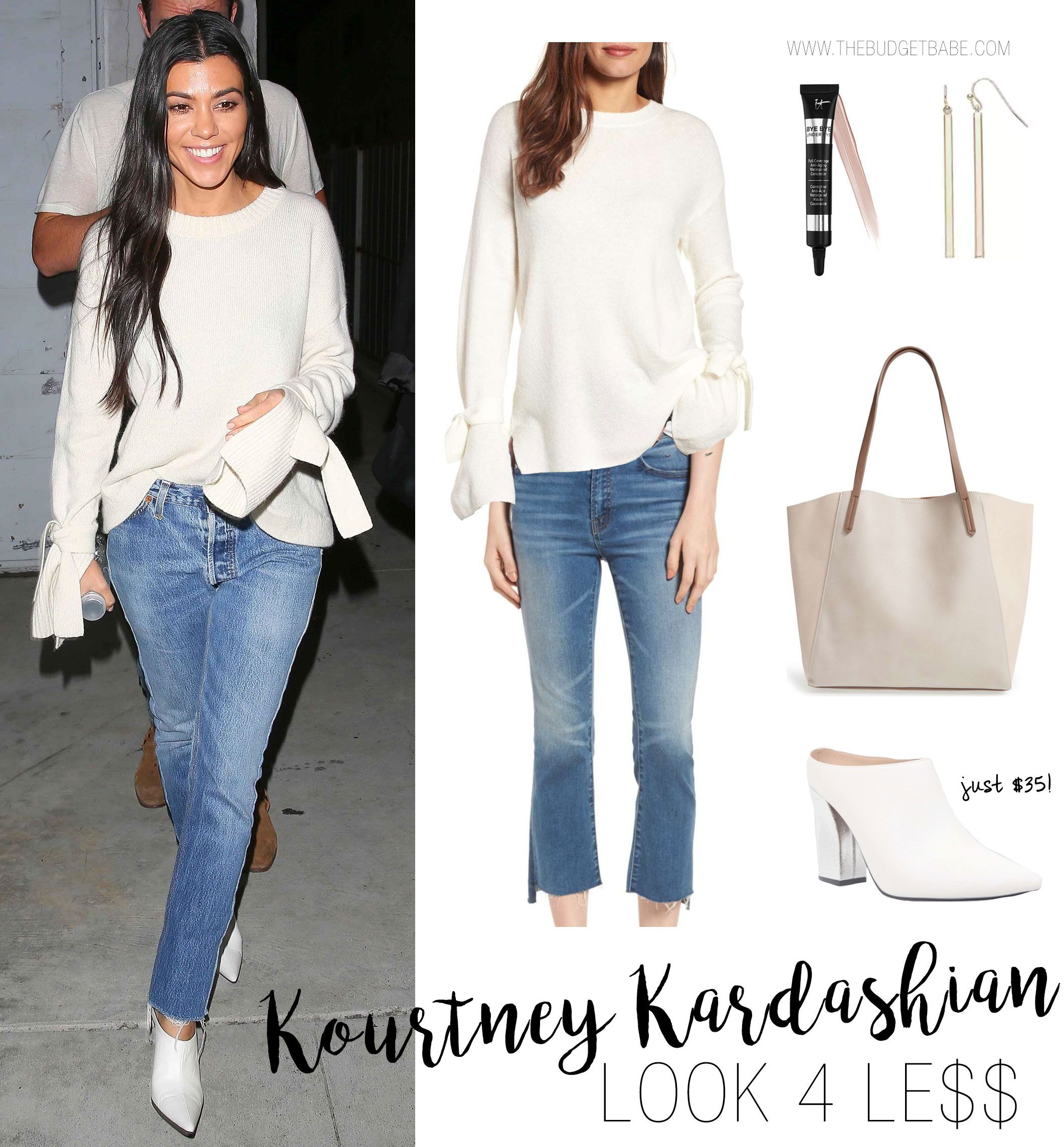 bb3a4fd61d19f Kourtney Kardashian s white bell sleeve sweater and crop hem jeans look for  less fall casual outfit idea - love the white mules!