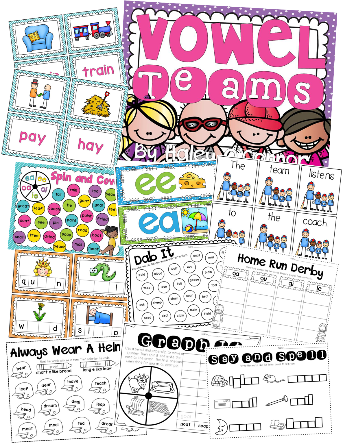 Vowel Teams And Diphthongs Printables Centers And Activities