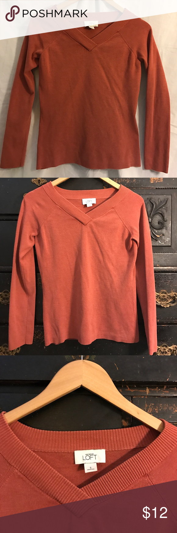 LOFT Orange V-Neck Sweater | Ann taylor loft, Neckline and Autumn