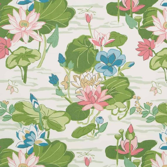 Green Pink Scenic Home Decor Fabric Lily Pad Print Fabric Pink