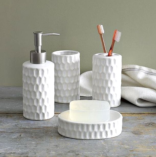 white honeycomb bath accessories - White Bathroom Accessories Ceramic